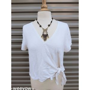Madewell Texture & Thread Wrap Tie Top L
